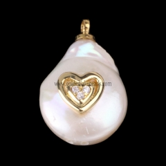 Natural Freshwater Pearl With Brass Charm/Pendant, Approx 11-15mm, sale by piece
