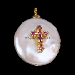 Natural Freshwater Pearl With Brass Charm/Pendant, Approx 13-20mm, sale by piece