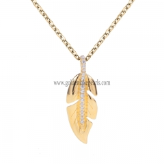 "Gold Plated S925 Sterling Silver ""Leaf""  Necklace"