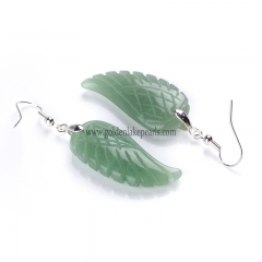 Green Aventurine Wing Earring with Base Metal, Sale by Pair