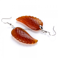 Red Agate Wing Earring with Base Metal, Sale by Pair