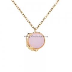"Gold Plated S925 Sterling Silver ""Rose Quartz ""  Necklace"