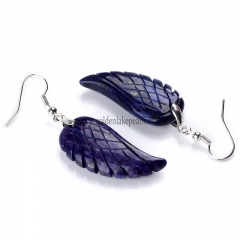 Lapis Lazuli Wing Earring with Base Metal, Sale by Pair
