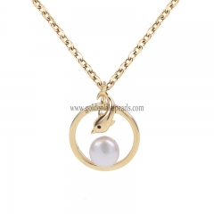 "Gold Plated S925 Sterling Silver ""Ring with Pearl""  Necklace"