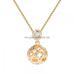"Gold Plated S925 Sterling Silver ""Ball""  Necklace"