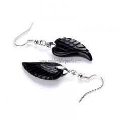 Black Agate Wing Earring with Base Metal, Sale by Pair