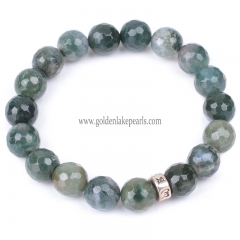 Moss Agate Faceted Round Bracelet, Approx 18-19cm