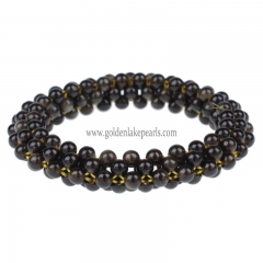 Golden Obsidian 4mm Seed Bead Woven Bracelet | Custom Style