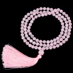 Rose Quartz Plain Round 8mm 108pcs Mala Knotted Necklace