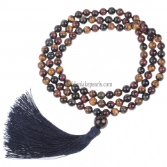 B Grade Mixed Color Tiger Eye Plain Round 8mm 108pcs Mala Knotted Necklace