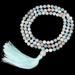 Mixed-Colour Amazonite Plain Round 8mm 108pcs Mala Knotted Necklace